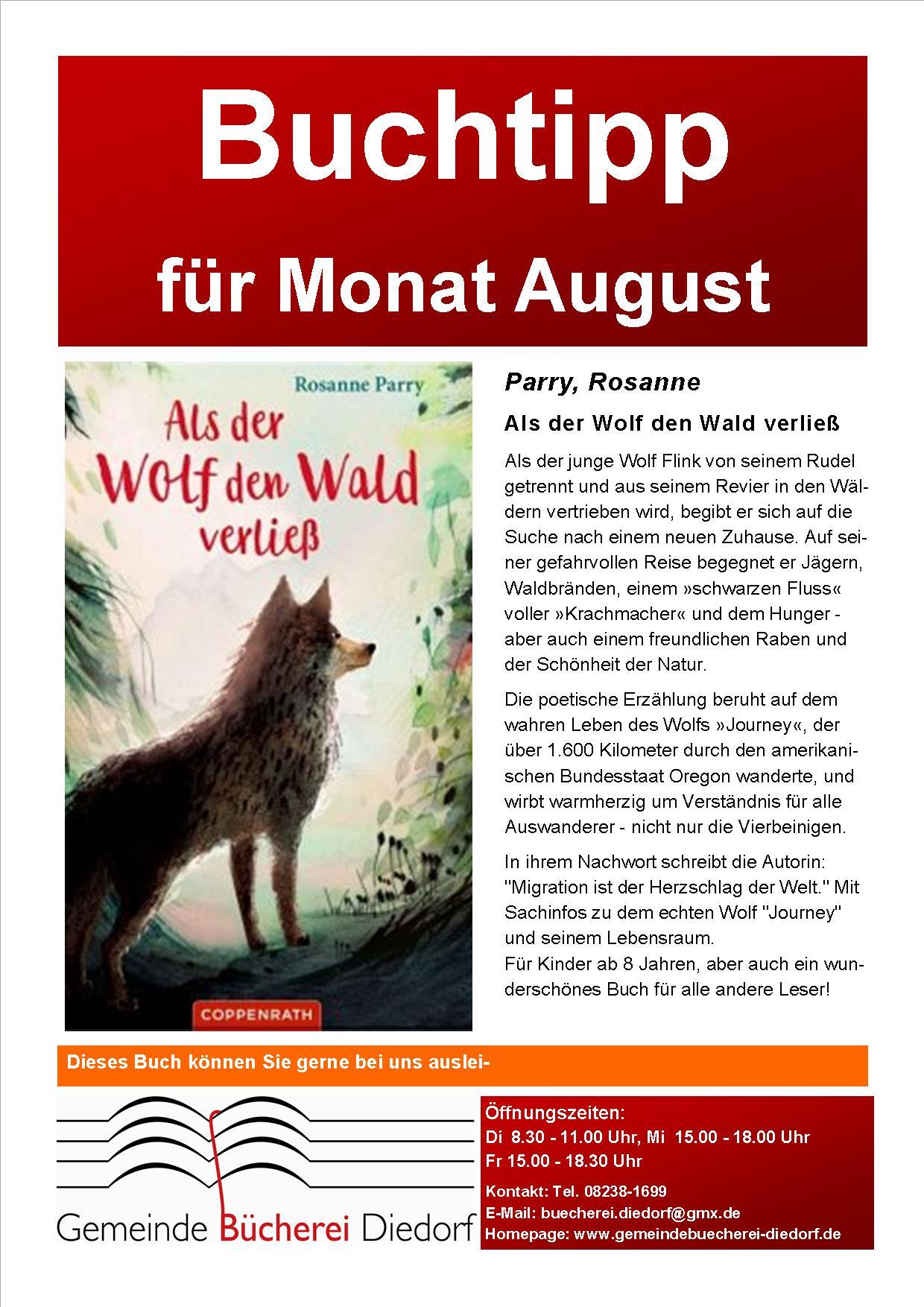 {#Bücherei-Buchtipp des Monats-August}