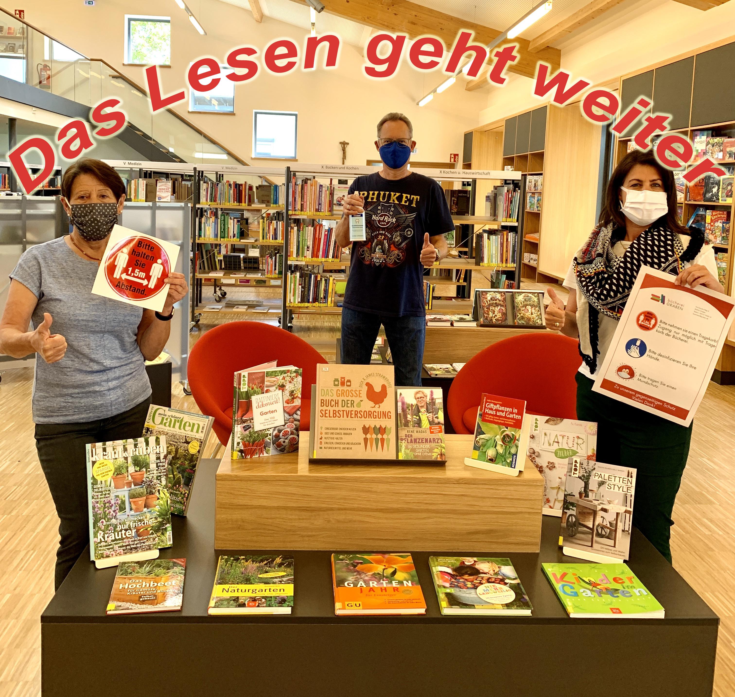 {#Das Lesen geht weiter!Büchereiteam Graben Maske}